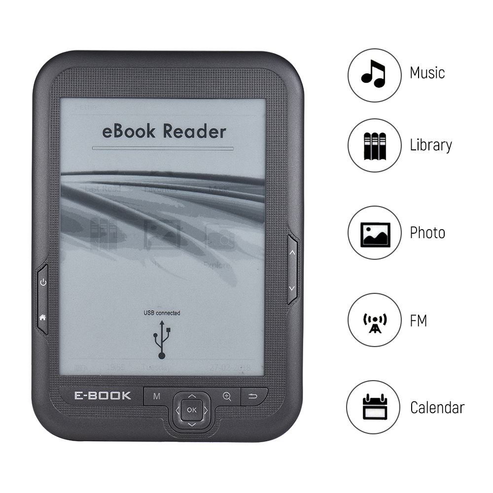 E-reader E-book Reader Book Reader 6'' E-ink Screen MP3 Player with Turn Page Buttons Leather Case Earphone 4G laulu page 6 page 6