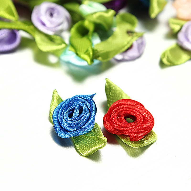 Multi-Color Ribbon Rose Flower Wedding DIY Craft Applique Scrapbook 100pcs 203-3