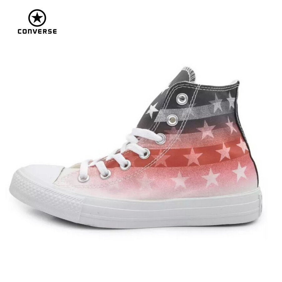 Original Converse all star shoes national flag Color matching high men women's sneakers canvas classic Skateboarding Shoes new converse chuck taylor all star ii low men women s sneakers canvas shoes classic pure color skateboarding shoes 150149c