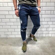 New Fashion Jeans Mens Trousers Retro Hole Cool Pants Trend Slim Feet Denim Streetwear mens jeans Large Size 7XL