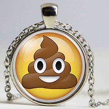 Pile Poo Poop Emoji Emoticon Geek Geeky Nerd Cabochon Mens Handmade Fashion Necklace Pendant steampunk Jewelry Gift women chain