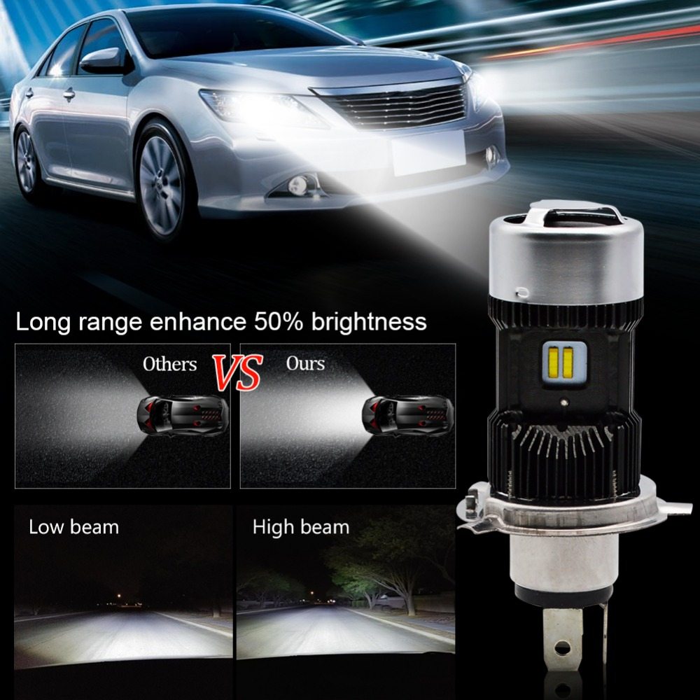 Image 5 - Safego 1pcs H4 LED Motorcycle Headlight Bulbs Hi Lo 3000LM 6000K 30W Led Moto Motorbike Headlamp Lighting Electric Car Lights