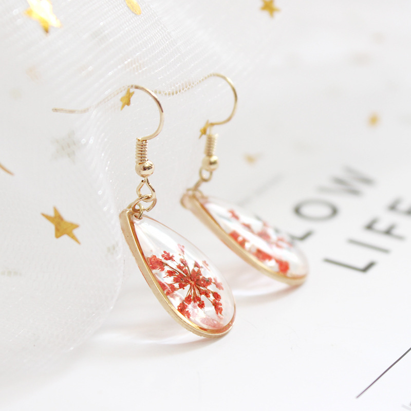 Pressed Flower Square Clip onrings Natural Dried Plant Green Flowers Dangle Drop Gold Plated
