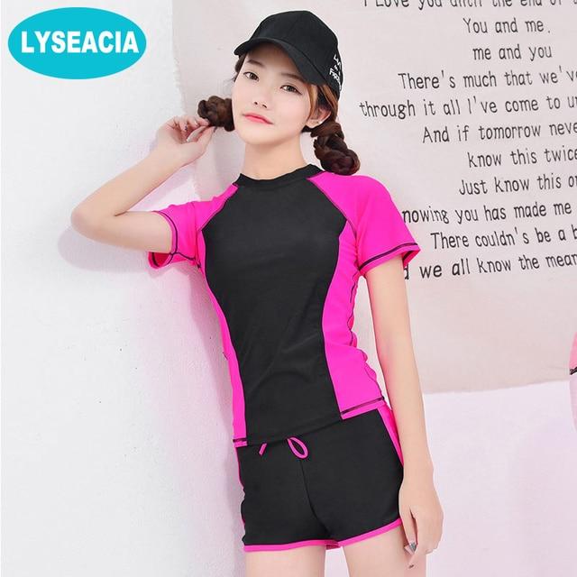 177e070e412 LYSEACIA M-4XL 4 Colors Women Tankini Swimwear Short Sleeve T-Shirt With  Swimming