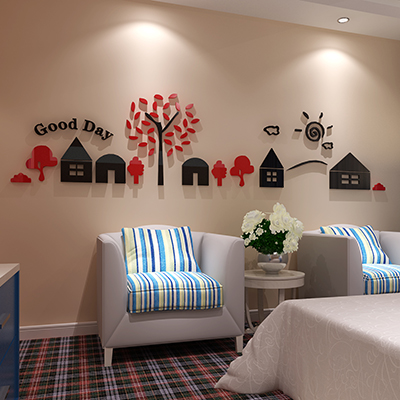 Small house Acrylic crystal three dimensional wall stickers Living ...