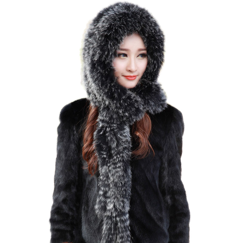 2019 Winter Warm Hat With Scarf Women Real Fox Fur Hat With Earflap Knitted Ladies Natural Fur Russian Hats Winter Cap Sets