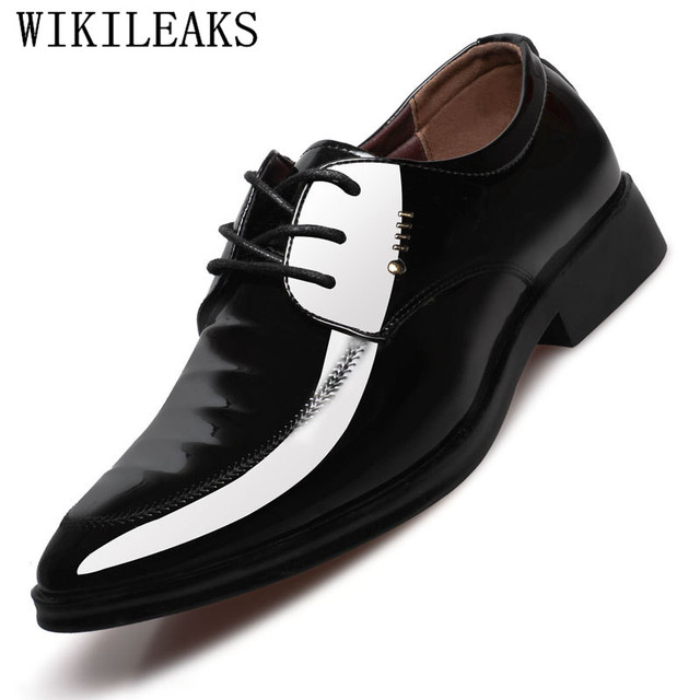 a842172a02 US $17.58 49% OFF|Office Shoes Men Patent Leather Mens Dress Shoes Social  Sapato Male Soft Leather Wedding Oxford Shoe For Men Zapatos De Hombre-in  ...