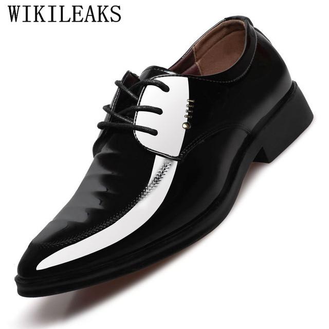 f3e3d05b6427 Office Shoes Men Patent Leather Mens Dress Shoes Social Sapato Male Soft Leather  Wedding Oxford Shoe For Men Zapatos De Hombre