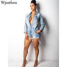 ef44e22346b9 Wjustforu Hole Loose Denim Playsuit Women Botton Street Mini Denim Jumpsuits  Solid Long Sleeve Summer Casual
