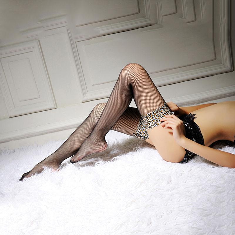 1 Пара Мода Девушки Sheer Leopard Кружева Топ Бедренной Кости Высокие Чулки Женщины Сексуальная Сторона Сетка Чулки