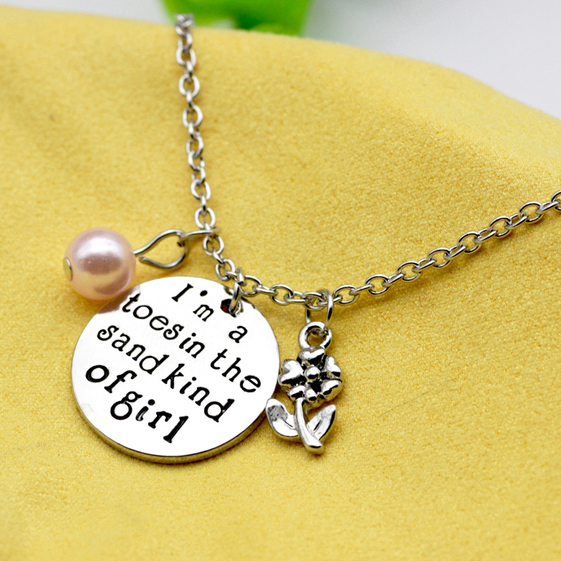 10PCS Lettering sand kind of girl Lettering Pendant Necklace Jewelry Charm Alloy Flowers Imitation Pearls Necklace