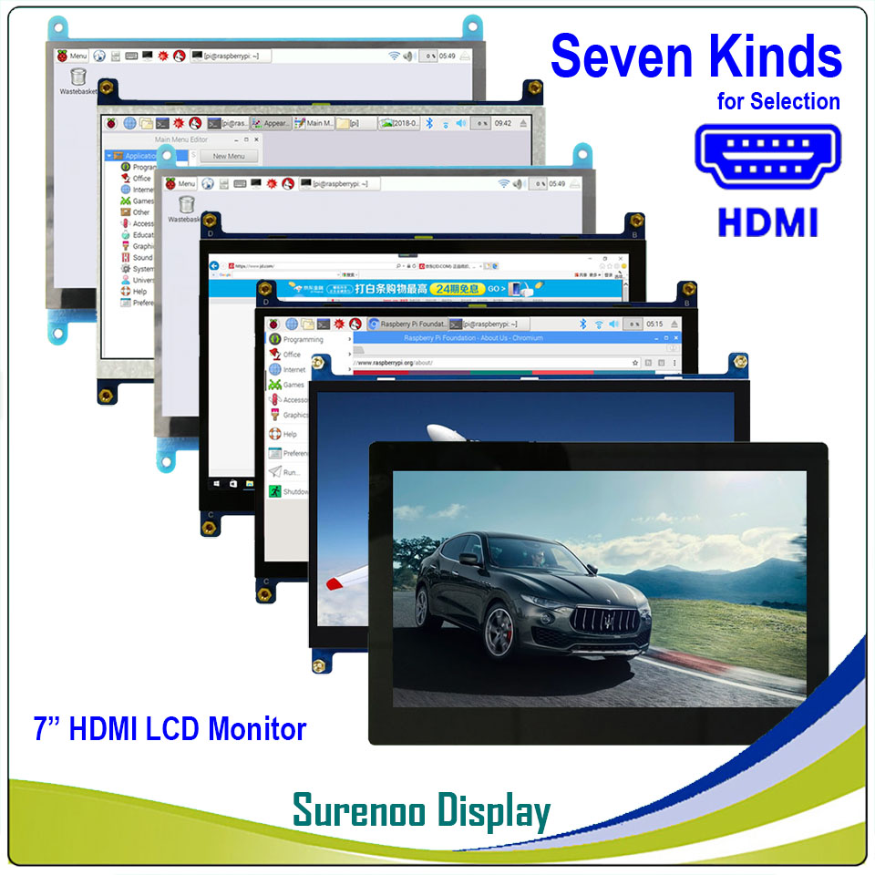 "7"" 7.0 inch 1024*600 TFT HDMI LCD Module Display Monitor Screen with USB Capacitive Touch Panel Audio Output for Raspberry Pi"
