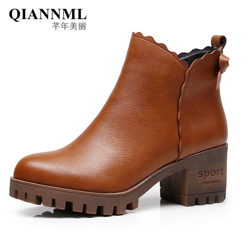 QianNML New 2018 Fashion Vintage Boots High Platform Shoes Winter Women Boots Warm Short Plush Botas Snow Martin Boot Black 996 2016 new arrival ankle boots for women fashion winter shoes warm plush snow boots shoe bowtie women boots polka dot botas mujer