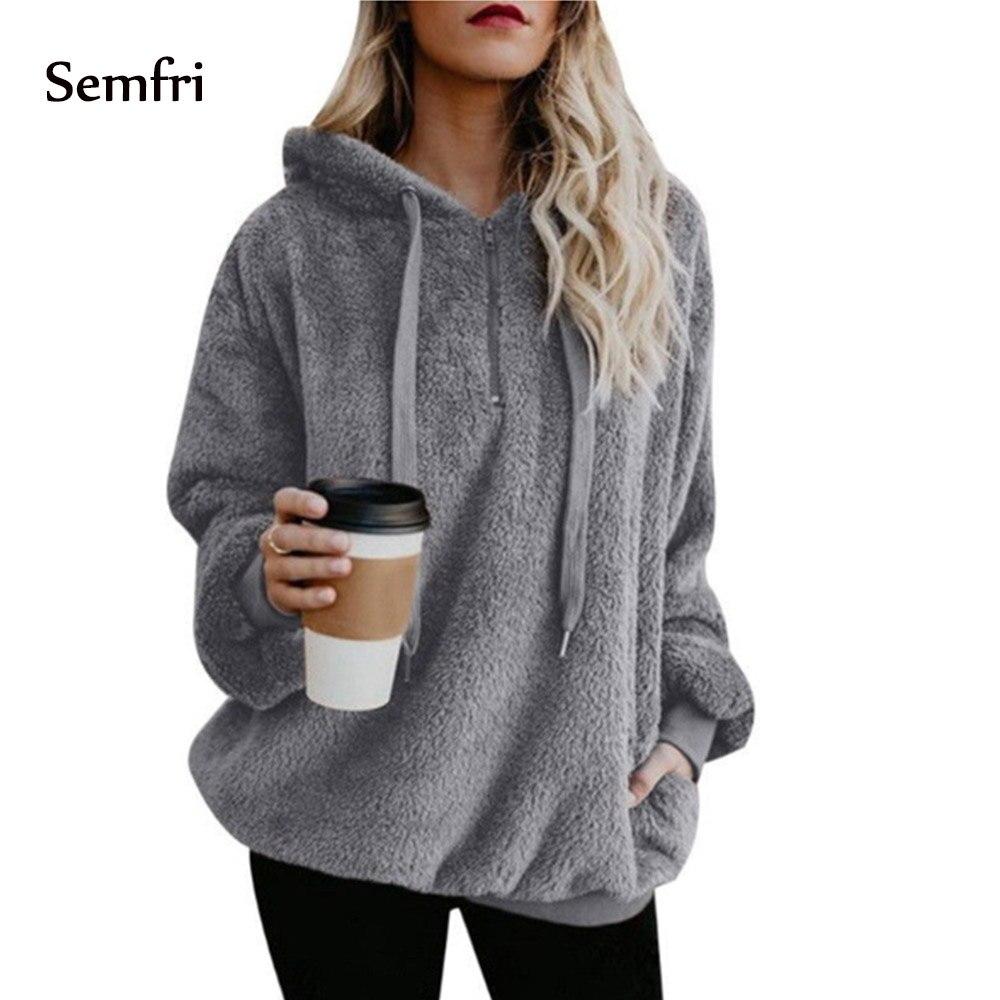 Semfri Woman Winter Jacket Female   Coat   Fluffy Hoodie Sweatshirt Half-zipper Oversized Front Hooded Draped Pockets   Coat   5XL Plus