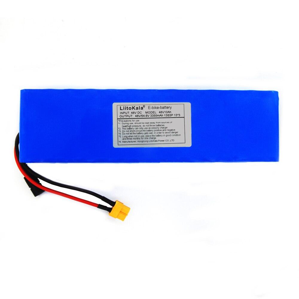 LiitoKala 48V 10ah 48V pil lityum pil paketi 2000W elektrikli bisiklet pil dahili 50A BMS XT60 fiş + 54.6V 2A şarj cihazı