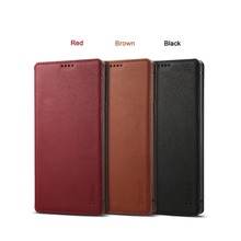 NeWisdom original for For Samsung Galaxy note9 case NATURAL Leather Folio Wallet Cases Card Slot note 9 flip cover men brown red