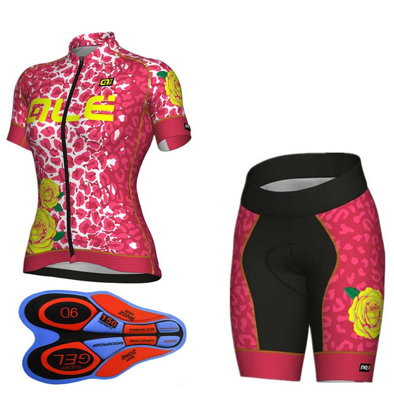 2018 Pro Team Cycling Jersey ALE Set Summer Racing Bike Clothing Women Breathable MTB mujer ropa ciclismo Bicycle Clothes #619