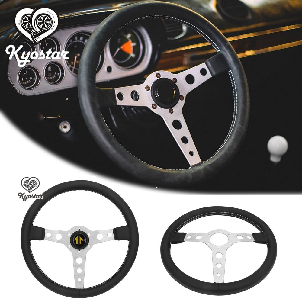 Universal 350mm steering wheel Flat Real leather steering wheel Drift Racing Classic Steering Wheel Silver Black