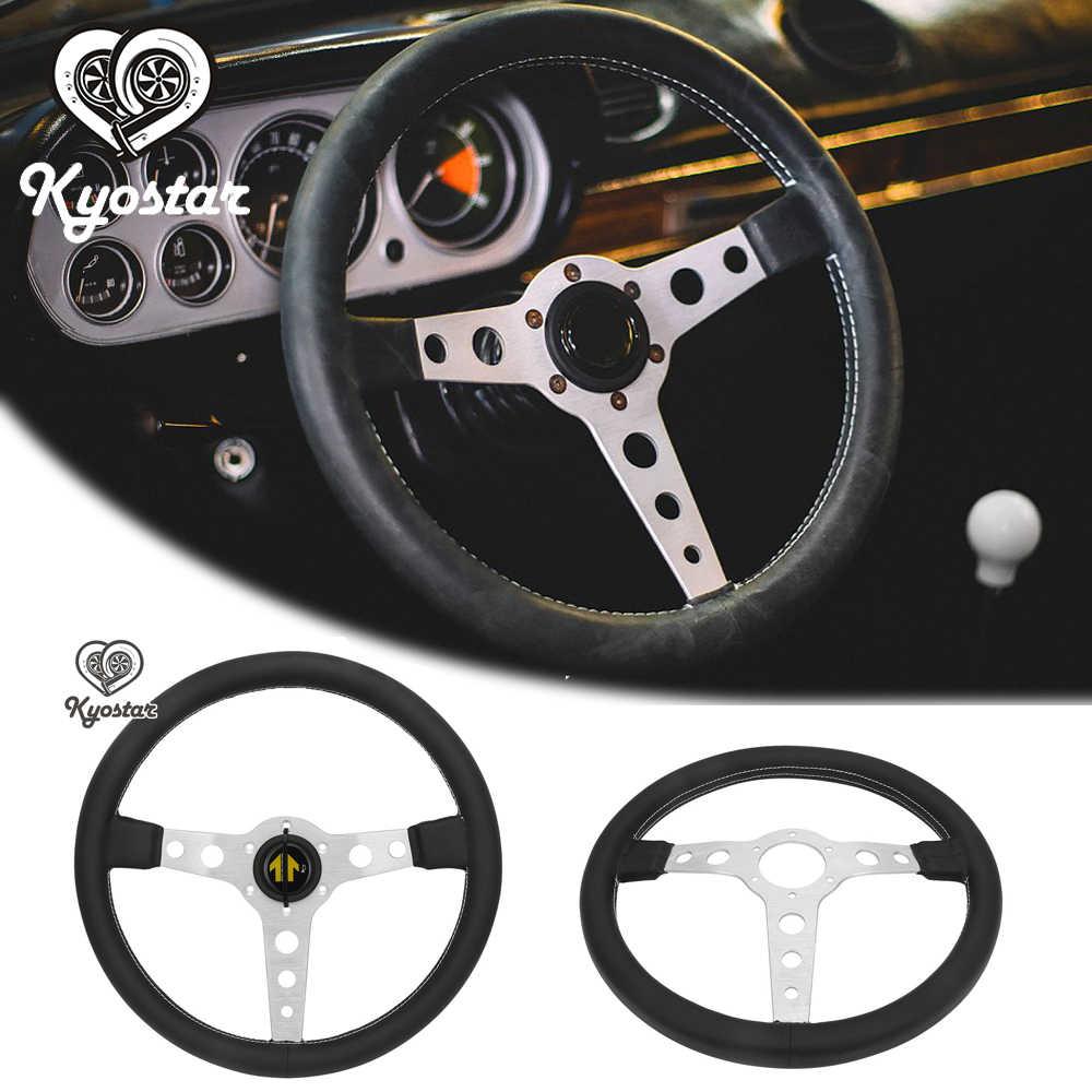 Universal de 350mm volante plano de cuero Real volante deriva clásico de las carreras volante negro plata con Stitchin