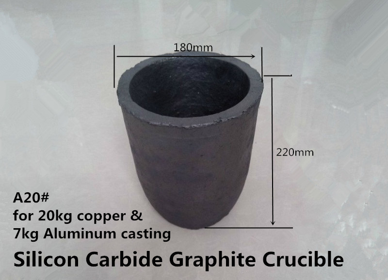 A20# Silicon Carbide Graphite Crucible  for  20kg copper and 7kg aluminum    / induction melting crucible