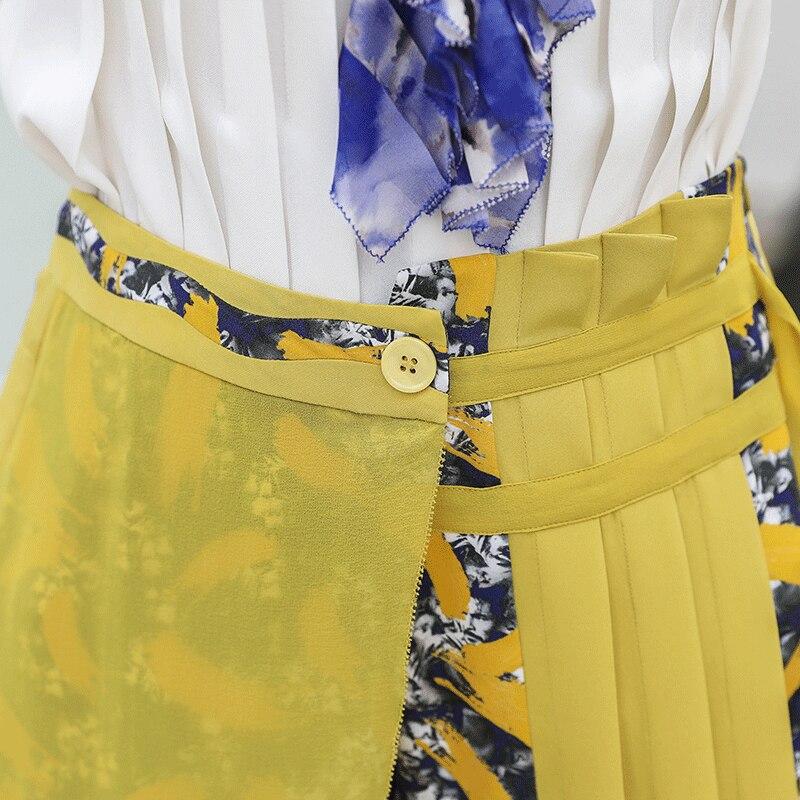 Longues Manches Pantalon Harajuku Lourde Mi Voa D'impression Jaune Doux Automne Harem Soie K572 Femmes Rococo Taille Bureau Ruban qFngYw