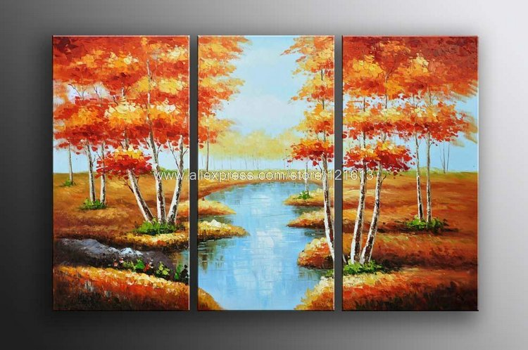 Xmas Sale Huge Trees Forest Landscape Art Oil Painting Gallery On Canvas Oil Painting Canvas Wall Art Set Room Painting D-in Painting & Calligraphy from ...