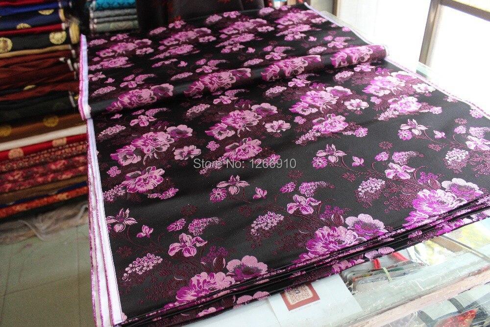 chinese silk brocade woven damask damask fabric cheongsam cushion black back purple big Peony flowers