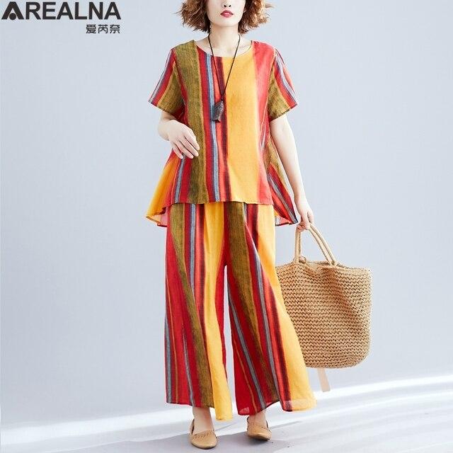 ce5bb091ead6 Más el tamaño de las mujeres conjuntos verano dos piezas set top y largo  sueltos pantalones 2 mujer Vintage conjunto algodón trajes