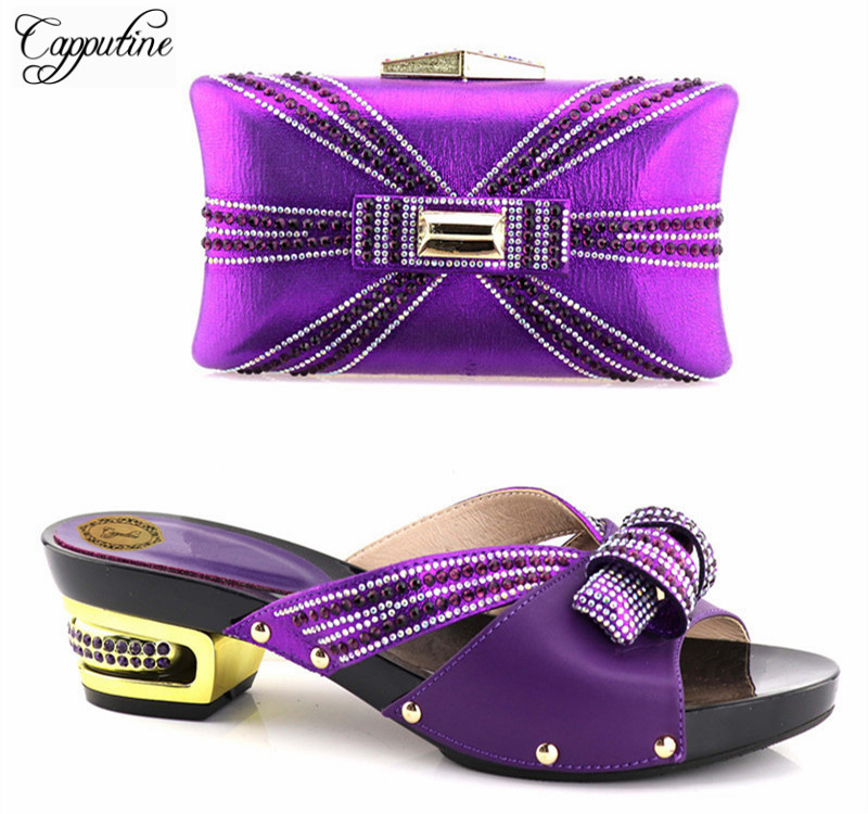 Capputine High Quality Italian Purple Color Shoes And Bag Set African Design Woman High Heels Shoes And Bag Set For Party Dress capputine 2018 summer african rhinestone shoes and bag set italian ladies high heels shoes and bag set for party tx 1136