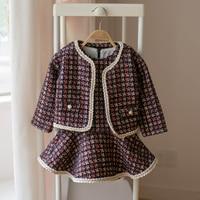 Toddler Girls Clothes 2018 Autumn&Winter Brand Fashion Plaid Tops+Elegant dress For Kids Children Dress Clothing Sets 80 120CM