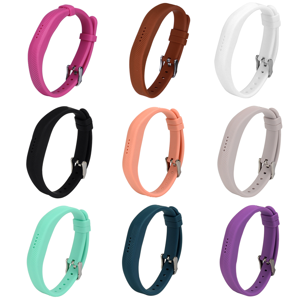 Silicone Smartband Strap Band Bracelet Wrist Bands Straps Loop Frame Protector with Stainless Steel Buckle for Fitbit Flex 2 ...