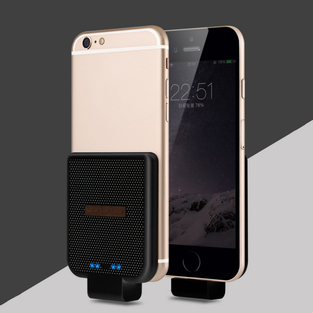 bilder für Neueste 2200 mAh Mini Energienbank Für Iphone 5 5 s 6 6 s 7 Telefon Tragbare Drahtlose Lade Fall Für Iphone 6 Plus 6 sPlus 7 Plus ladung