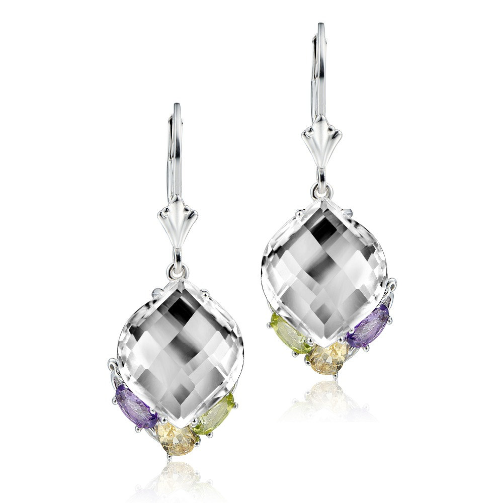 DORMITH real 925 sterling silver natural rock crystal quartz citrine amethyst peridot water drop earrings for