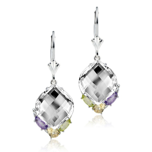 DORMITH real 925 sterling silver natural rock crystal quartz/citrine/amethyst/peridot water drop earrings for women jewelry