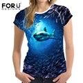 Forudesigns mujeres 3d camiseta de manga corta de algodón de la manera más tamaño tops azul tiburón ballena delfín impreso camiseta femenina camiseta