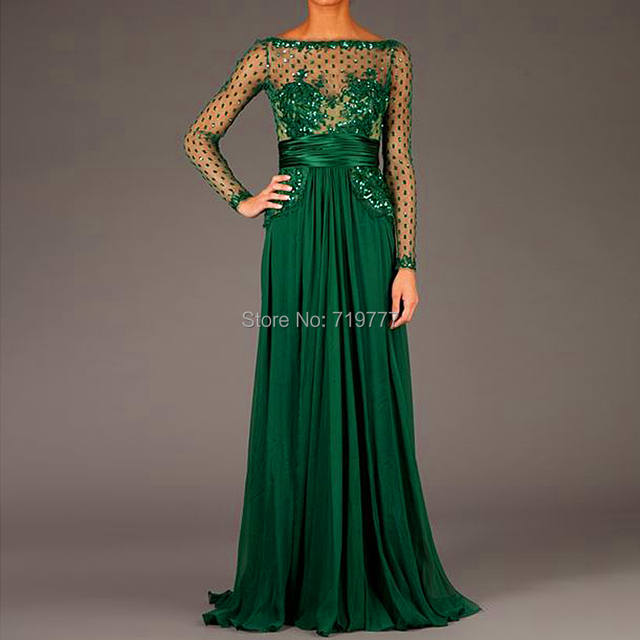 Maxi dress long sleeves evening gown
