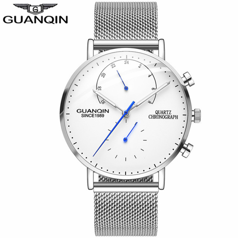 GUANQIN New Mens Watches Top Brand Luxury Chronograph Luminous Hands Clock Men Business Casual Creative Mesh Strap Quartz Watch цена 2017