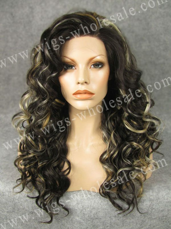 ФОТО curly lace front wigs synthetic  short curly  brown mixed color  N4-4/27HY/613  by DHL