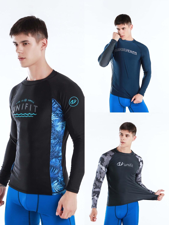 TSMC УФ-защита Рашгард из лайкры для мужчин с длинным рукавом купальный костюм для плавания Рашгард быстросохнущая футболка для серфинга для ...