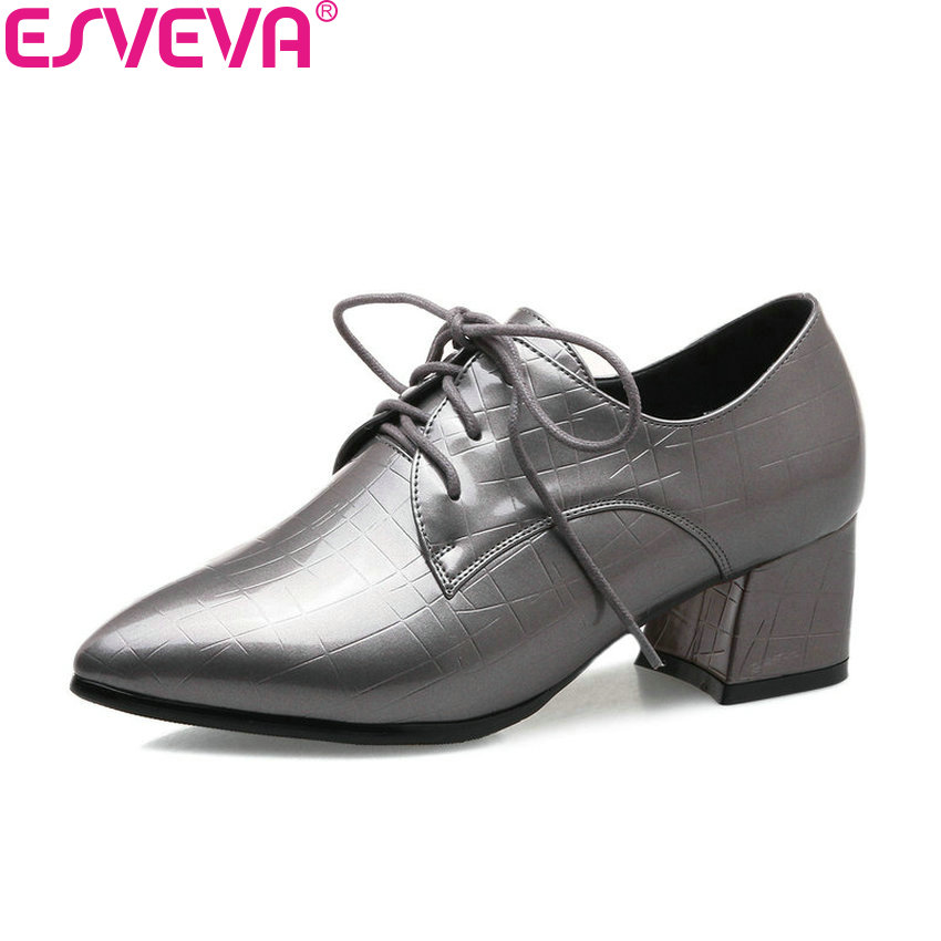 ESVEVA 2018 PU Women Pumps Med Heels Shoes Classics Spring and Autumn Pointed Toe Square Heels Lace Up Women Shoes Size 34-43 xiaying smile woman pumps shoes women spring autumn wedges heels british style classics round toe lace up thick sole women shoes