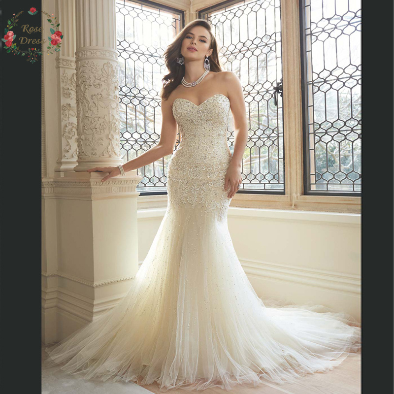 Beading Venice Lace Tulle Mermaid Long Wedding Dress Slim