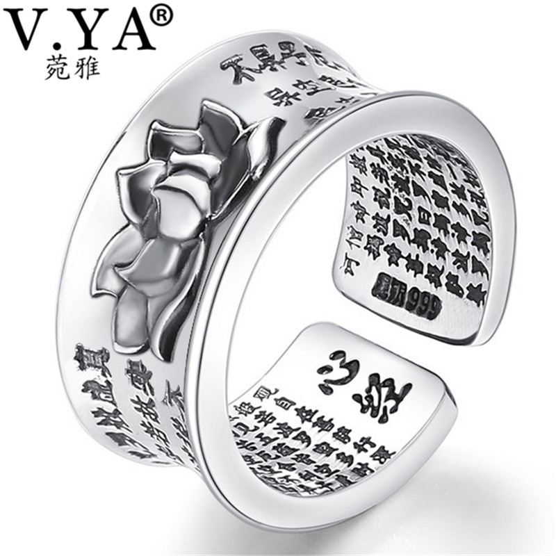V.YA Pure 999 Sterling Silver Retro Open Rings With Buddhism Heart Sutra Lotus Floral Finger Ring For Men Women Jewelry