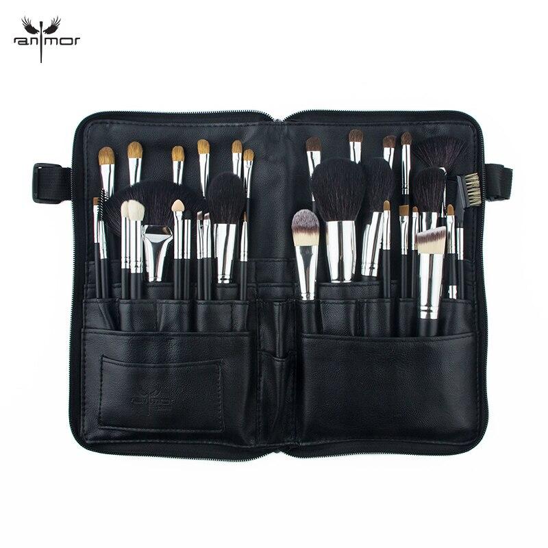 Anmor professionnel 32 pièces pinceaux de maquillage ensemble naturel cheveux maquillage brosse fondation sourcil fard à paupières outils portables sac cosmétique