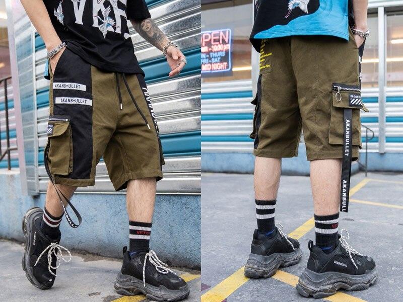 Side Ribbon Zipper Pockets Cargo Baggy Shorts 5