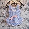 nova 2015 summer striped vest t shirt+pants 2pcs kids tracksuit for 2~7 age toddler girls clothing sets roupa infantil menina