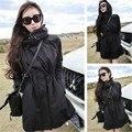 2016 de invierno Mujeres Trench Coats Abrigos Medio-Largo Trench Con Capucha Delgada Capa Femenina Cazadora Caliente Outwear Trench Negro
