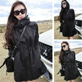 2016 winter  Women Trench Coats Overcoats Mid-Long Hooded Trench Thin Coat Female Warm Windbreaker Outwear Black Trench Coats