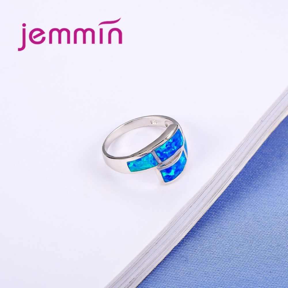ใหม่ 2018 แฟชั่น Blue Fire Opal แหวนเงินแท้ 925 เครื่องประดับ Wedding Party หมั้นเครื่องประดับสำหรับผู้หญิงขายร้อน