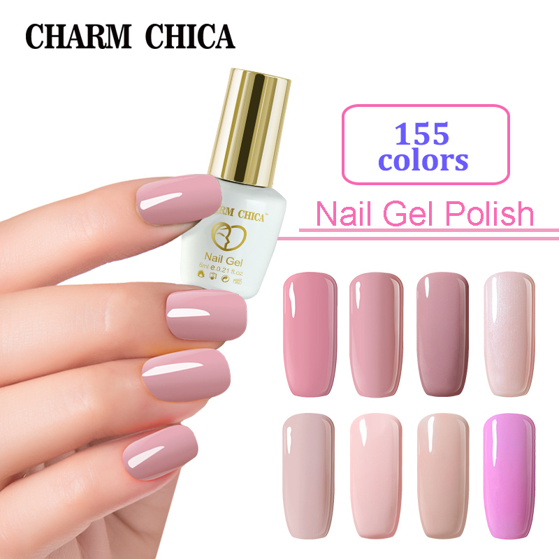 CHARM CHICA Nail Gel Polish 6ml Pink Nude Colors Soak Off