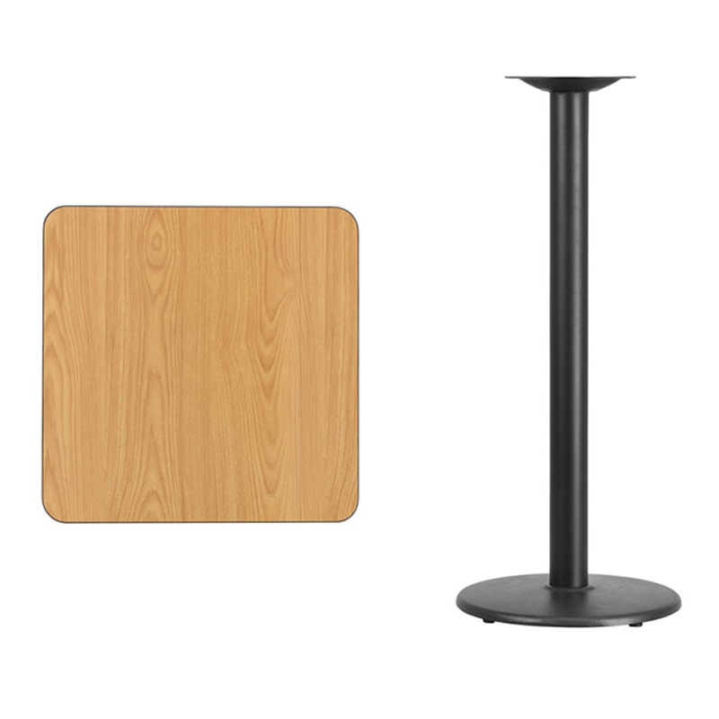 Flash Furniture 24'' Square Natural Laminate Table Top with 18'' Round Bar Height Table Base winsome cora pub table bar height round faux marble top black base